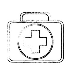blurred silhouette first aid kit with symbol cross vector image