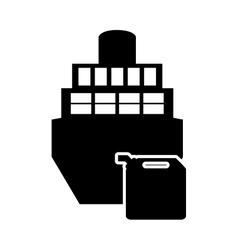 Cargo ship and oil canister icon vector
