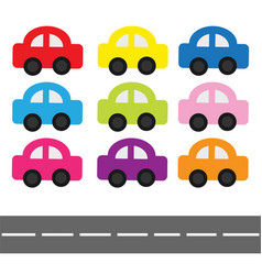 Cartoon car set and horizontal road baby kids vector