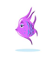 cartoon cute serious face fish marine character vector image