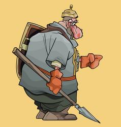 Cartoon fairytale man warrior with spear and vector