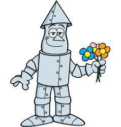 Cartoon tin man holding flowers vector