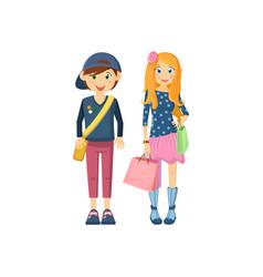 Children pair boy girl in school clothes going to vector