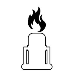 Chimney with flame isolated icon vector
