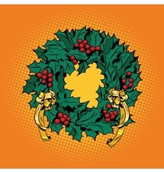 Christmas wreath of Holly with red berries vector image