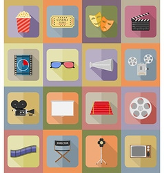 cinema flat icons 19 vector image
