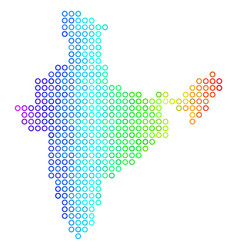 Colored cirle dot india map vector