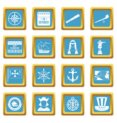 Columbus day icons azure vector