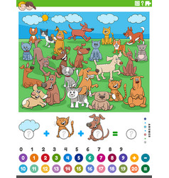 Counting and adding task with cartoon pet animals vector