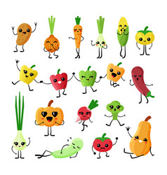 cute vegetables kawaii flat characters set vector image