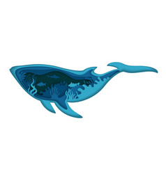 Double exposure layered paper cut whale vector