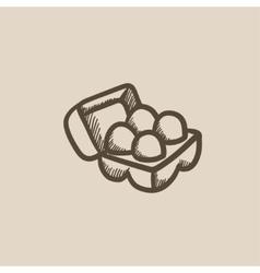 Eggs in carton package sketch icon vector