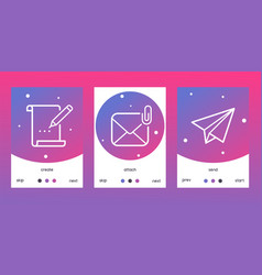 email outline icons set o posters banners vector image