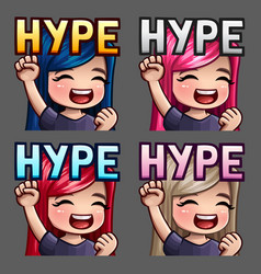 emotion icons happy hype female vector image