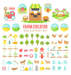 farm creator big set of farming elements vector image