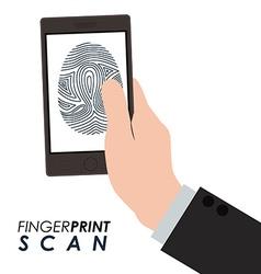 Fingerprint scan design vector image