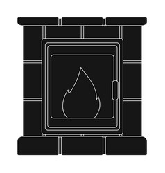 Fire warmth and comfort fireplace single icon in vector