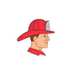 fireman firefighter vintage helmet drawing vector image