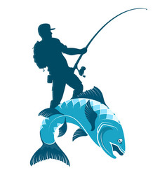 fisherman catches fish silhouette vector image