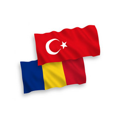 Flags turkey and romania on a white background vector