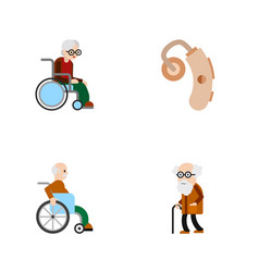 Flat icon disabled set wheelchair audiology vector