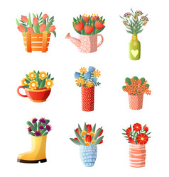 floral composition set flowers in vase different vector image