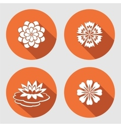 Flower icons set Lily chamomile blue poppy vector