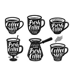 Fresh coffee label set espresso mug hot drink vector