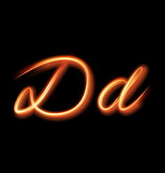 Glowing light letter d hand lighting painting vector