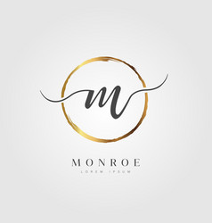 gold elegant initial letter type m vector image