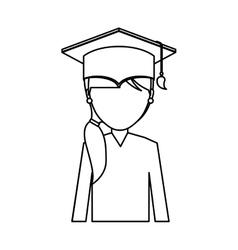 Graduate woman avatar character vector