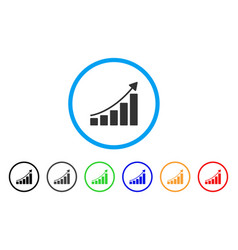 growing bar chart trend rounded icon vector image