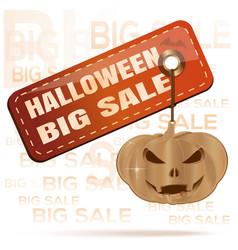 Halloween big sale orange tag and gold pumpkin vector
