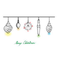 Hand drawn of lovely christmas lights hanging on t vector