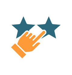 Hand puts two stars rating colored icon customer vector