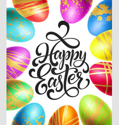happy easter background template with lettering vector image
