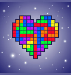 Heart old video game design vector