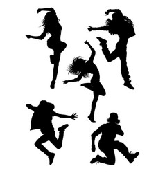 Hip hop modern dancer silhouette vector