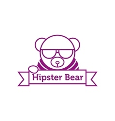 hipster bear in sunglasses outline logotype vector image