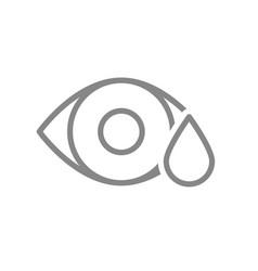 human eye with drop line icon eye drops medicine vector image