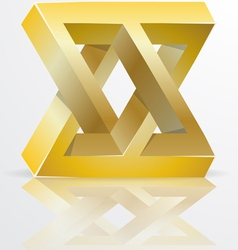 Impossible Figure Golden Icon Sign vector