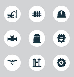 Industry icons set with sack with earth drilling vector