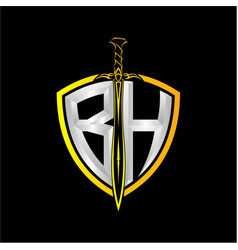 Initials b h is a shield decorated vector
