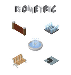 isometric city set of turning road park vector image
