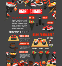 japanese sushi restaurant menu of asian cuisine vector image vector image