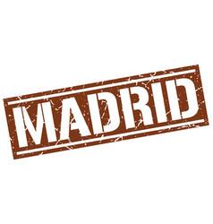 Madrid brown square stamp vector