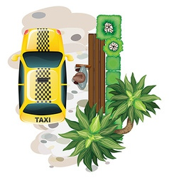 Man and taxi vector