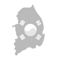 Map of South Korea with flag vector image