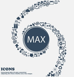 Maximum sign icon in the center Around the many vector