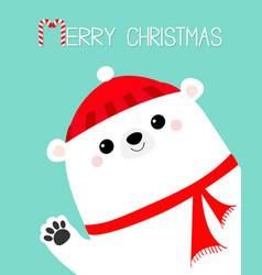 Merry christmas big white polar bear waving hand vector